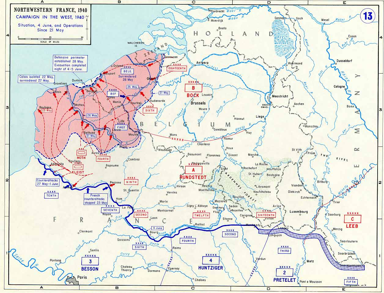 Map Of North West France.Northwest Europe 21 May To 4 June 1940 Reducing Allied Pocket Bef S